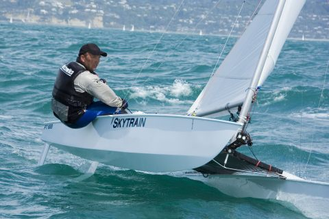 Peter Robbins sailing PT 888. The Paper Tiger Catamaran is an exciting 4.3m ...