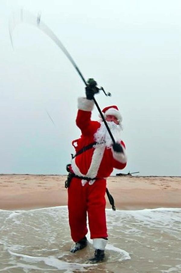 Santa loves to fish