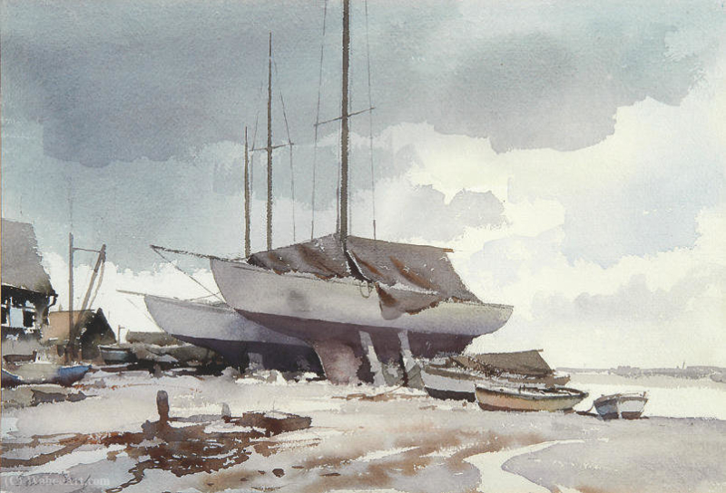 Edward_Seago-Yachts_at_Pin_Mill